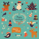 Icone di Natale, insieme di elementi Immagine Stock
