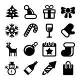 Icone di Natale messe su fondo bianco Vettore royalty illustrazione gratis