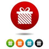 Icone di natale Segni attuali della scatola Simbolo di festa Bottoni di web del cerchio di vettore illustrazione di stock