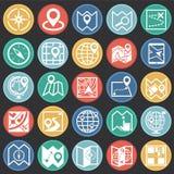 Icone di navigazione e della mappa messe sul fondo nero dei cerchi di colore per il grafico ed il web design, segno semplice mode illustrazione di stock