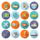 Icone di navigazione piane Fotografia Stock