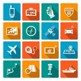Icone di navigazione piane Immagine Stock Libera da Diritti