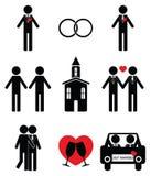 Icone di nozze 2 dell'omosessuale messe Fotografia Stock