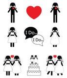 Icone di nozze della donna gay messe Fotografia Stock