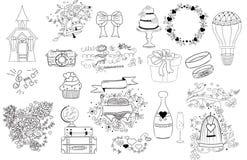 Icone di nozze, illustrazioni di scarabocchio Fotografie Stock