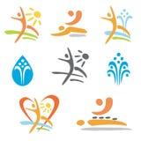 Icone di nudismo di massaggio della stazione termale Immagine Stock Libera da Diritti