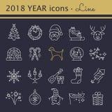 Icone di nuovo anno Elementi della festa di Natale Immagine Stock
