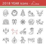 Icone di nuovo anno Elementi della festa di Natale Fotografia Stock