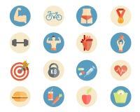Icone di nutrizione e di sport Fotografie Stock Libere da Diritti