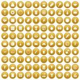 100 icone di nutrizione hanno messo l'oro Fotografia Stock Libera da Diritti
