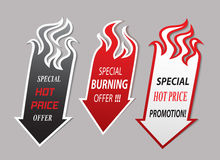 Icone di offerta delle frecce del fuoco Immagine Stock Libera da Diritti
