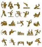 Icone di Olympics di estate messe (oro) Immagini Stock