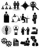 Icone di ora dell'amministrazione delle risorse umane messe Immagine Stock
