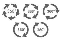 icone di panoramica di 360 gradi Fotografia Stock Libera da Diritti