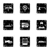 Icone di parcheggio messe, stile di trasporto di lerciume Immagine Stock