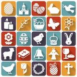 Icone di Pasqua Insieme dei simboli piani di vettore illustrazione vettoriale