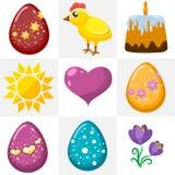 Icone di Pasqua in uno stile piano Immagine Stock Libera da Diritti