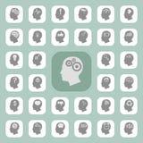 Icone di pensiero delle teste Fotografie Stock Libere da Diritti