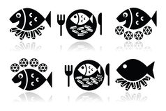 Icone di pesce e patate fritte messe Immagini Stock Libere da Diritti