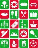Icone di picnic Fotografia Stock