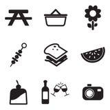 Icone di picnic Fotografie Stock