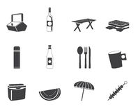 Icone di picnic e di festa della siluetta Fotografie Stock