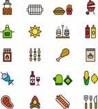 Icone di picnic o del BBQ Fotografia Stock Libera da Diritti