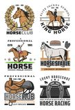Icone di polo e di corsa di cavalli, sport equestre royalty illustrazione gratis