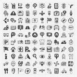 Icone di posizione di GPS della mappa di scarabocchio messe Fotografie Stock Libere da Diritti