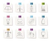Icone di potenza, di energia e di elettricità Fotografie Stock Libere da Diritti