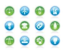 Icone di potenza, di energia e di elettricità Fotografia Stock Libera da Diritti