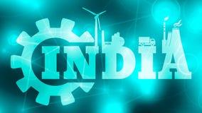 Icone di potenza e di energia Parola dell'India Fotografie Stock Libere da Diritti