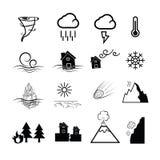 Icone di potere della natura di disastro illustrazione vettoriale