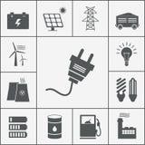 Icone di potere e di elettricità Immagini Stock