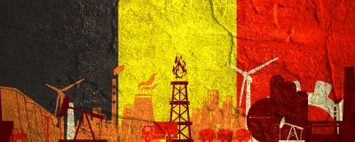 Icone di potere e di energia messe Insegna di intestazione con la bandiera del Belgio Fotografia Stock