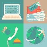 Icone di prenotazione e di prenotazione di vacanza messe Immagine Stock Libera da Diritti