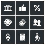 Icone di prestito di credito fondiario messe Illustrazione di vettore Immagine Stock Libera da Diritti