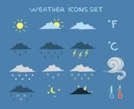 Icone di previsioni del tempo messe Fotografia Stock Libera da Diritti