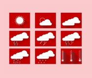 Icone di previsioni del tempo in quadrati rossi Fotografia Stock