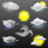 Icone di previsioni del tempo di vettore Fotografie Stock Libere da Diritti