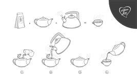 Icone di procedura di miscela del tè dell'illustrazione di schizzo di vettore Tè che fa istruzione Linee guida come fare bevanda  illustrazione vettoriale