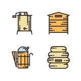 Icone di produzione del miele - alveare, fumatore, estrattore Fotografia Stock
