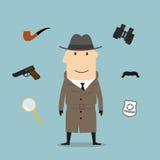 Icone di professione della spia e dell'agente investigativo Immagini Stock Libere da Diritti