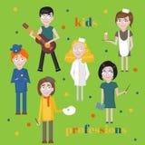Icone di professione messe Professione per la raccolta del fumetto dei bambini Personale di servizio del bambino Fotografia Stock