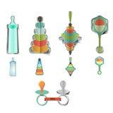 Icone di progettazione della doccia della neonata Fotografia Stock Libera da Diritti