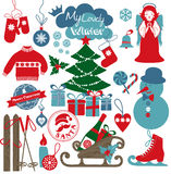 Icone di progettazione di Natale messe Scheda di nuovo anno felice Immagine Stock Libera da Diritti