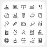 Icone di progettazione grafica messe Fotografie Stock