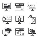 Icone di programmazione messe Fotografia Stock