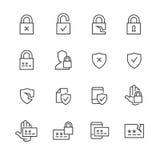Icone di protezione dei dati e di parola d'ordine illustrazione vettoriale