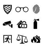 Icone di protezione e sicurezza Fotografia Stock